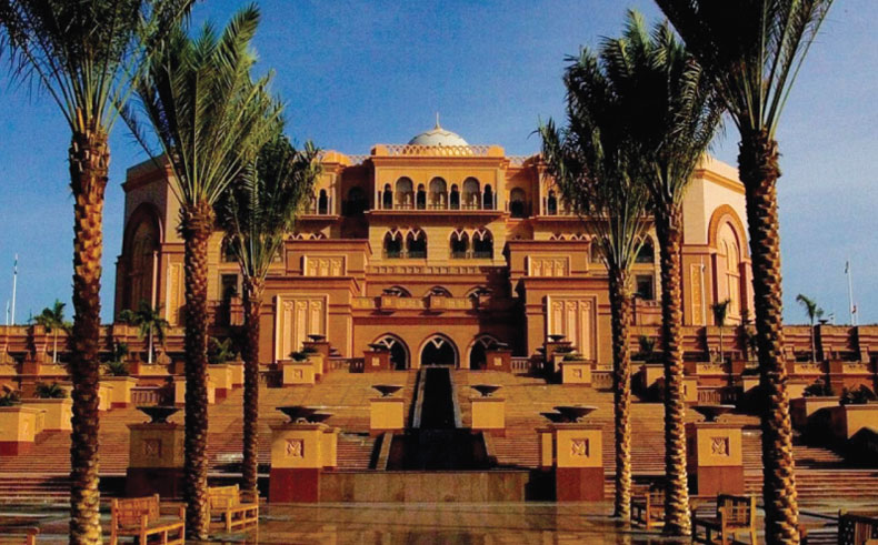 Photography of the front view of Emirates Palace Hotel in Abu Dhabi
