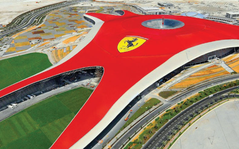 View from above of Ferrari World in Yas Island, Abu Dhabi