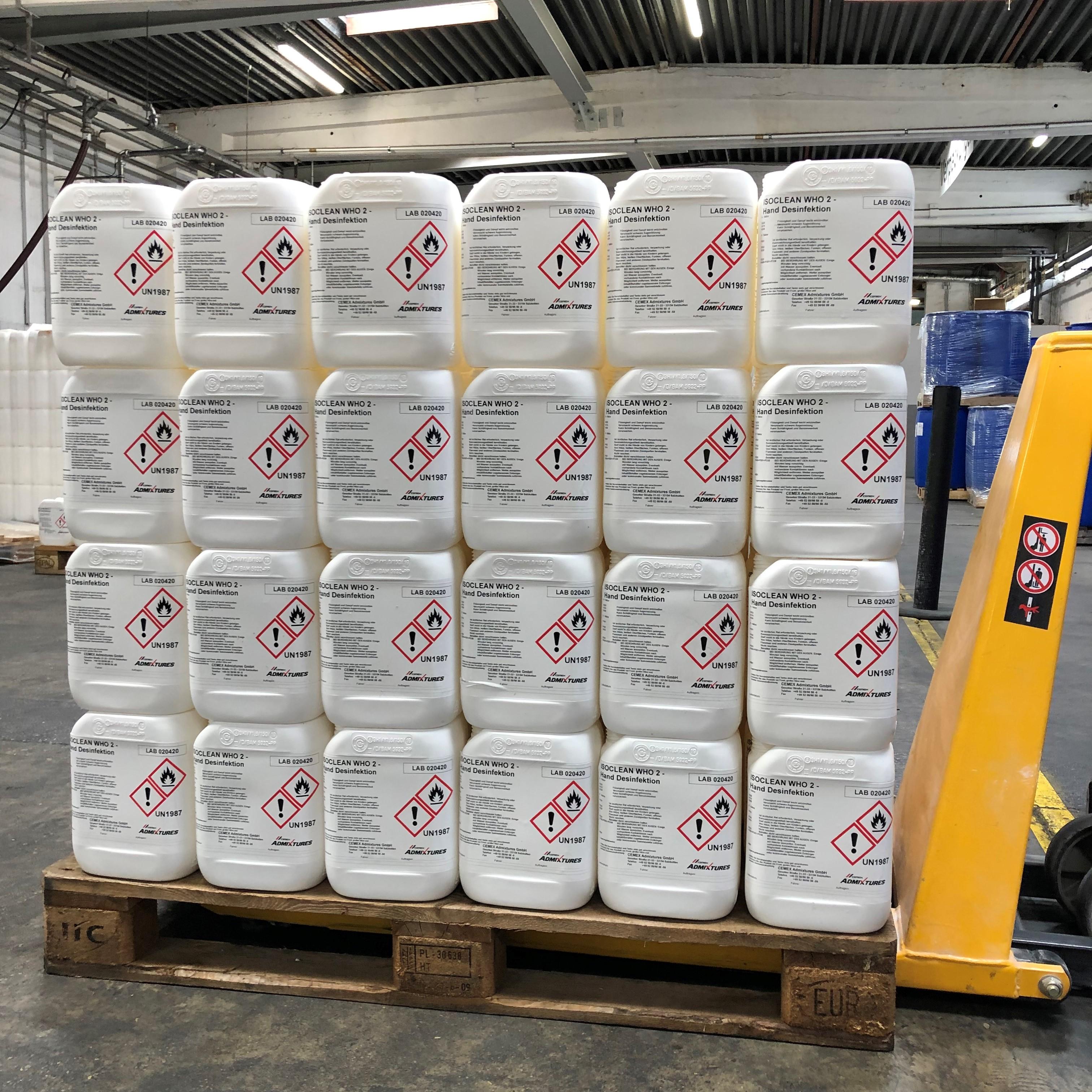 Das Desinfektionsmittel wird in 5-Liter-Behältern zusammen mit einer Gebrauchsanweisung und Sicherheitshinweisen geliefer