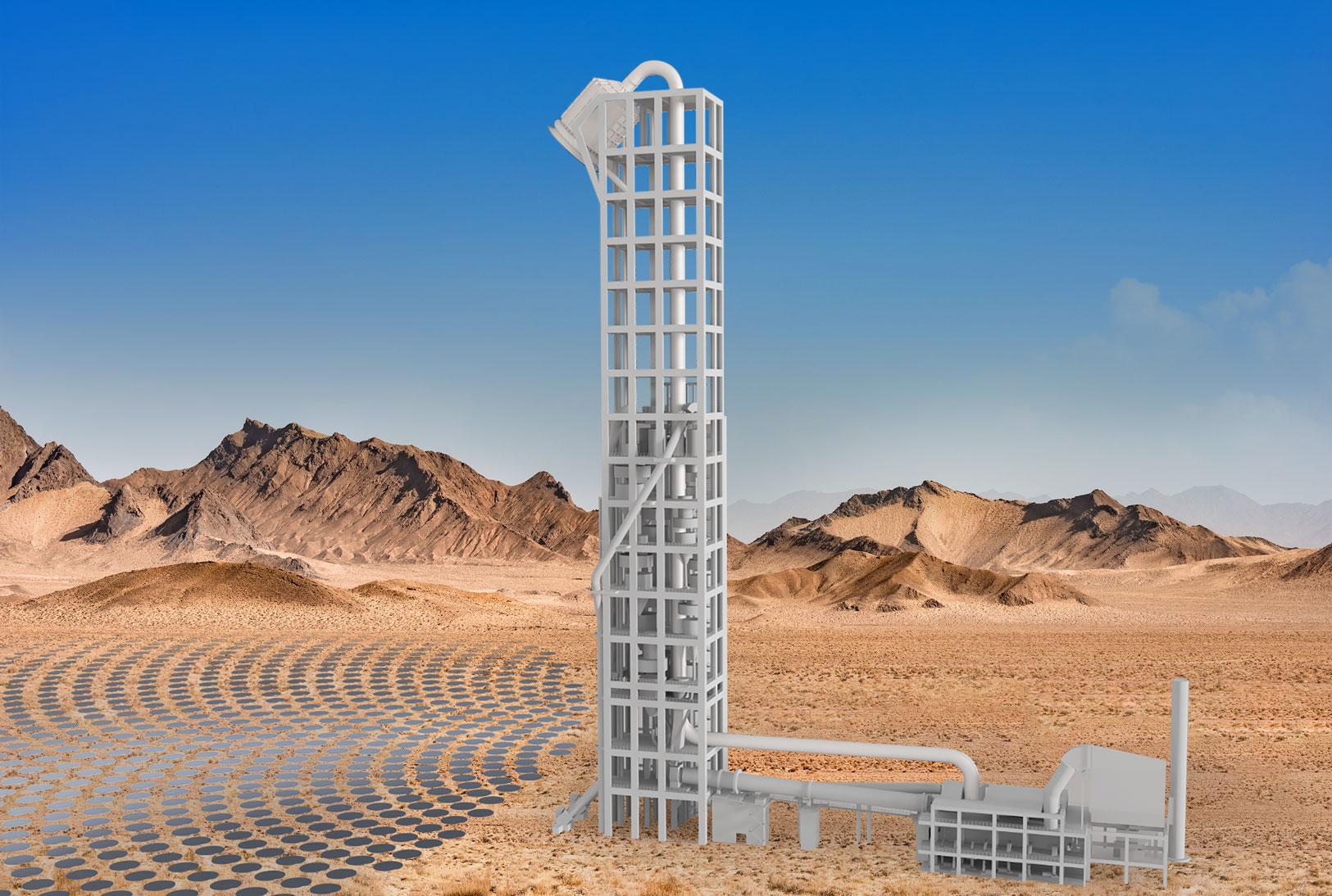 Modell eines Zementwerks mit Solarturm, der Hochtemperatur-Prozesswärme liefert. (Foto: Synhelion SA)